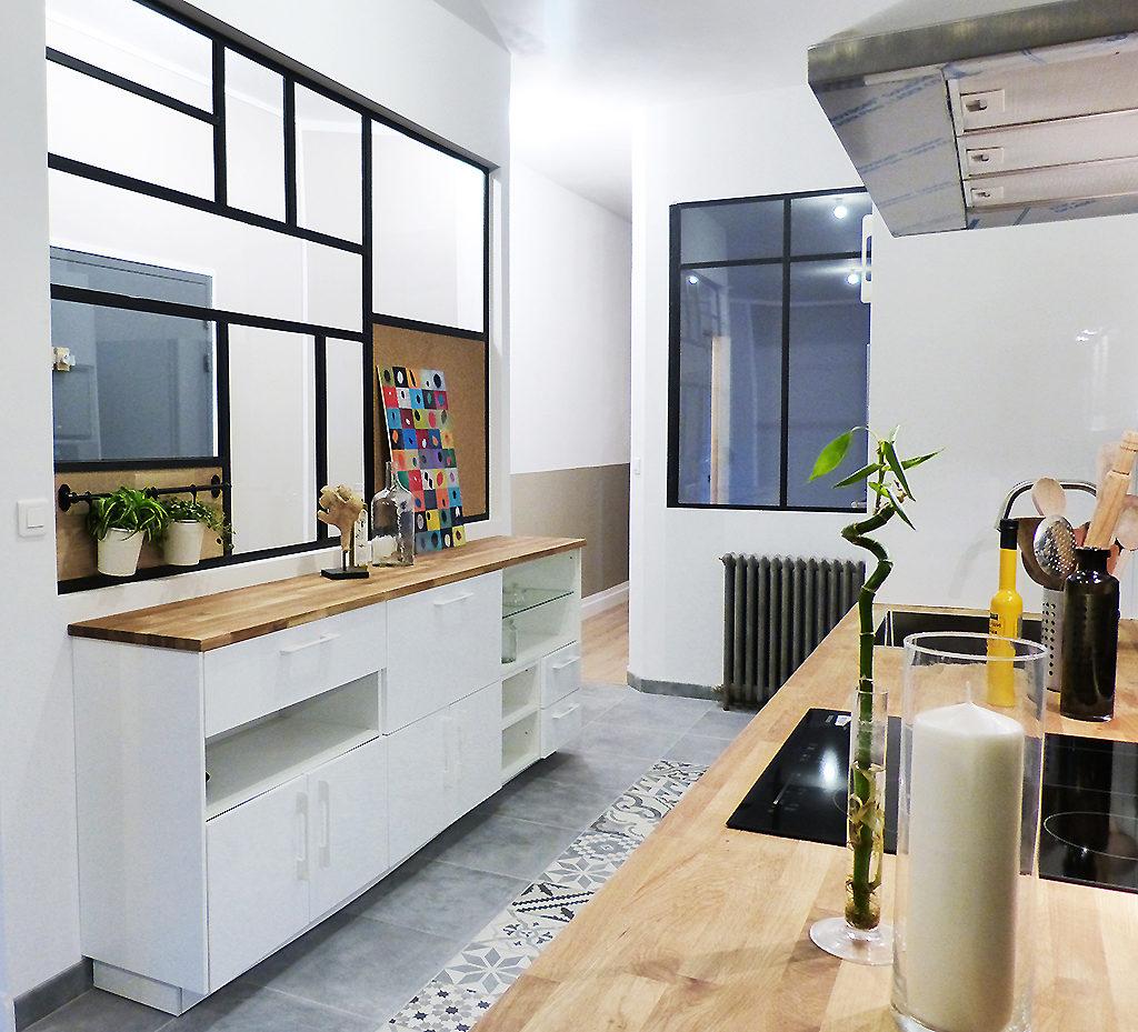 réalisation d'une cuisine complète avec mobilier sur mesure pour un plateau à décorer et aménager à Rouen